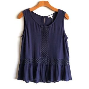 Charming Charlie navy top with crochet insets NWT